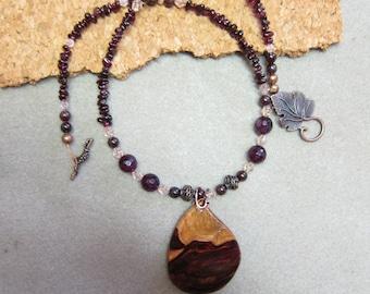 Genuine Garnet Beaded Necklace with Rare Khamphi Rosewood Pendant January Birthstone