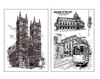 clear stamp set /clear stamps /planner Journal stamp/church /architecture
