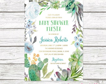 Fiesta Baby Shower Invitation Boy, Cactus Baby Shower Invitation, Tropical Baby Shower, Southwestern Baby Shower, Succulent Invitation