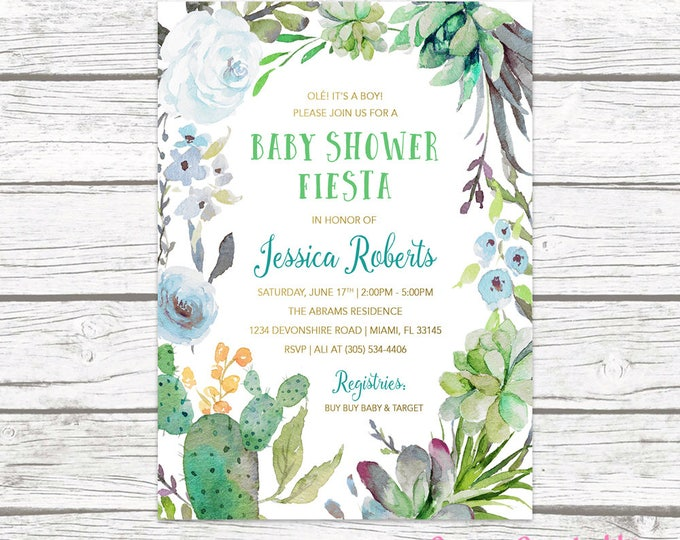 Fiesta Baby Shower Invitation Boy, Cactus Baby Shower Invitation, Tropical Baby Shower, Southwestern Baby Shower, Succulent Invitation