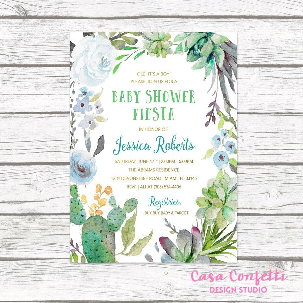 Fiesta Baby Shower Invitation Boy, Cactus Baby Shower Invitation ...