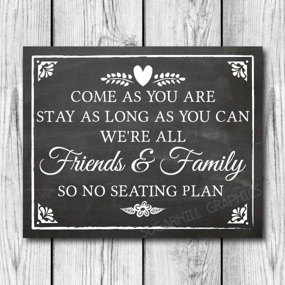 no seating chart wedding