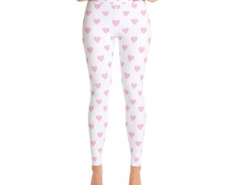 Valentine Leggings Valentine's Day Gift Girl Pink Hearts Cute Valentine Heart Pattern Yoga Leggings Valentines For Her Made In The USA