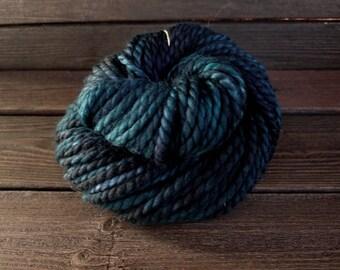Hand Dyed Yarn, Superwash, Merino, Nylon, Blue, Turquoise, Black, Indie Dyer, Bulky, Knit, Crochet, Weave, Fiber Art, Hat