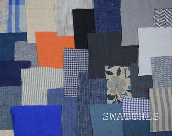Swatches of LINENGRAPHY fabrics and sewn items. Complete your own set of samples !