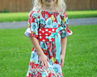 Girls Peasant Dress, Toddler Dresses, Girls Dresses, Easter Dress, Polka Dot, Red dress, blue dress, Girls Dresses on Sale, size 6