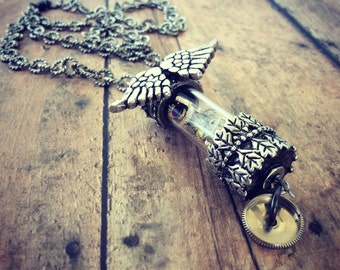 Steampunk Vial Necklace, Steampunk Jewelry, Steampunk Wings, Watch Part Necklace, Watch Gears, Antique Silver Necklace, Chain Neckla