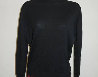 Vintage Jaeger Black Pullover Wool Sweater ~ 1970's Made in Great Britain ~ Black Sweater ~ Vintage Black Sweater ~ Vintage Jaeger Sweater