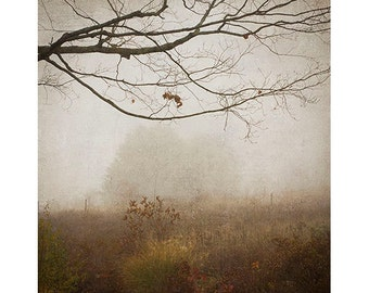 Landscape Photography, Rustic Wall Decor, Misty, Foggy,  Earth Tones, Sepia Print, Living Room Decor