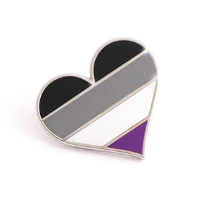 Asexual pride pin, Ace lapel pin, Asexual flag pin, Heart enamel pin, Ace bag decoration, Asexual community, Asexual accessory