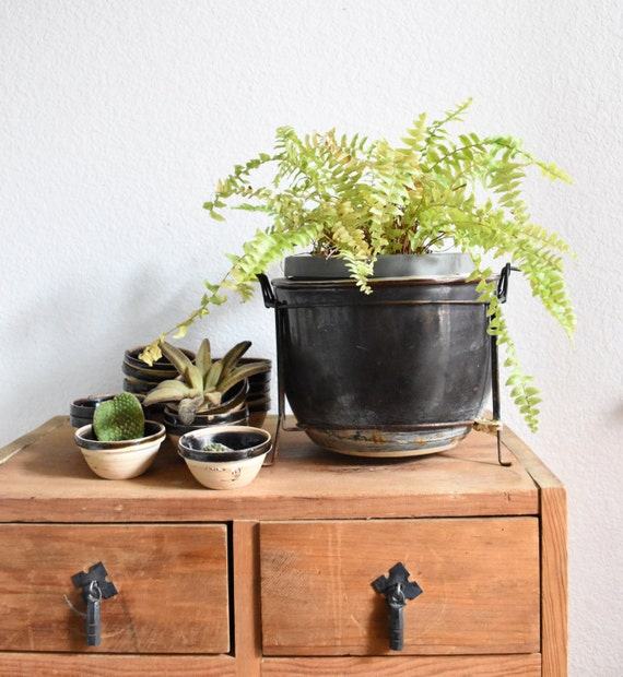 antique old brown miniature stoneware sauce dishes / mini ceramic pots / bowls