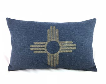 READY TO SHIP: Zia Symbol / New Mexico State Flag Pillow Cover - Navy Blue Wool Military Blanket & Champagne Metallic (add'l colors avail)