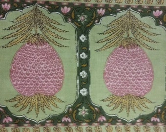 "Vintage Waverly Schumacher Fabric Material ""Bikaner"" with Pineapple Border"
