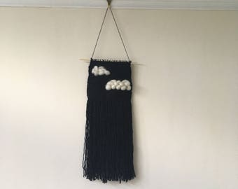Stormy clouds woven wall hanging
