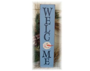 WELCOME Snowman vertical primitive wood Christmas sign