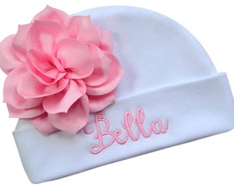 Personalized Embroidered Baby Girl Monogrammed Hat with attached LOTUS FLOWER - 100% Cotton - Your CUSTOM Text By Funny Girl Designs