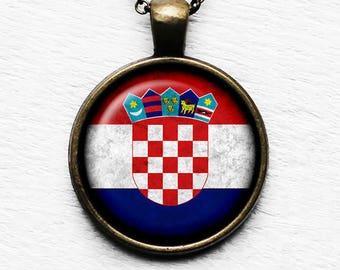 Croatia Croatian Flag Pendant & Necklace