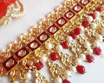 Red and Gold Kundan Indian Bridal Choker Necklace - Indian Jewelry, Indian Wedding Jewelry, Indian Bridal Jewelry, Indian Nose Ring Shop
