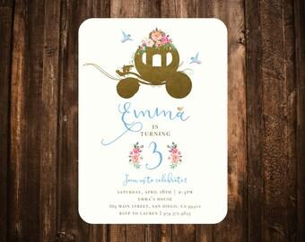 Cinderella Birthday Invitation; Floral, Watercolor, Fairytale; Printable or set of 10