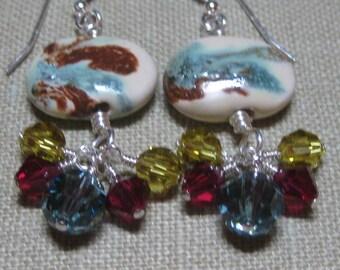 Wine & Green Kazuri Cluster Dangle Earrings - E697