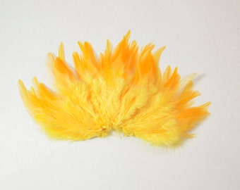 Rooster Saddle Feathers - Golden Yellow, 2 inch strip (50-60pcs)