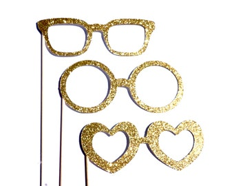 Photo Booth Props -  Set of 3 Glitter Glasses - You Choose Color - Birthdays, Weddings, Parties - Photobooth Props