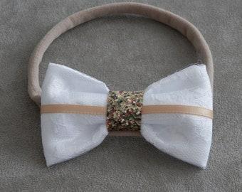 White Christening Headband, Baby Baptism White Headband, First Communion Headband, Girl Headband, Newborn Headband, Gold Headband, Baby Bows