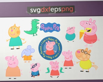 Peppa pig Svg File, Peppa pig Cuting file, Peppa pig Instant Download, Peppa Pig Birthday Invitations, svg digital download svg, eps, png