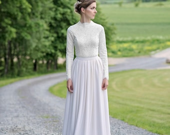 Laurel - modest wedding dress / long sleeve wedding dress / high neck wedding dress / modest wedding gown / winter wedding dress /