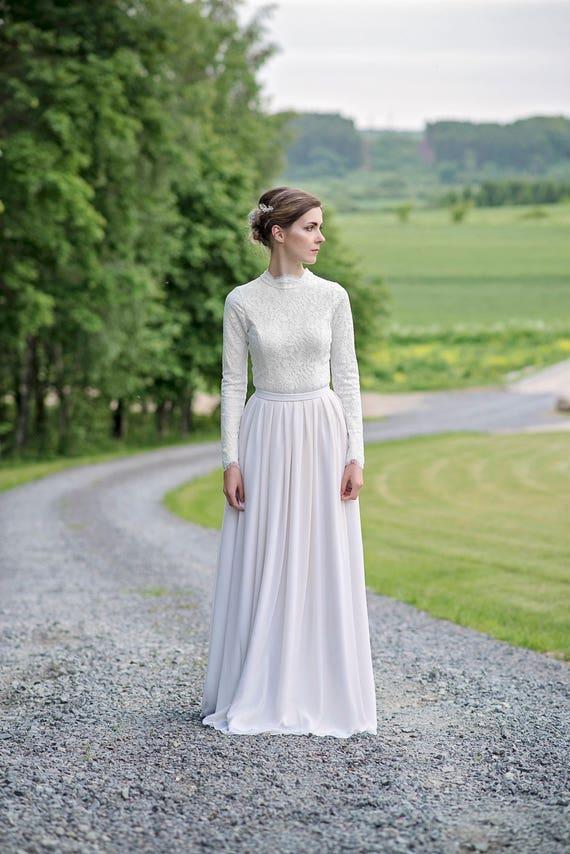 Laurel - high neck wedding dress
