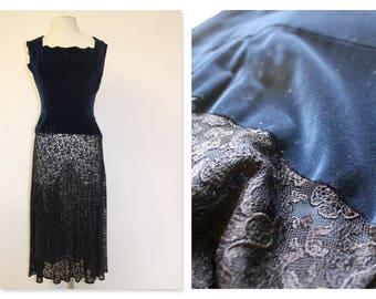 1930's Blue Velvet & Lace Dress