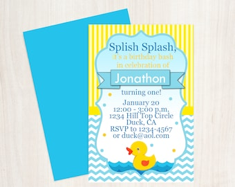 Yellow Rubber Duck Birthday Invitation, Yellow Duck Baby Shower, Duck Birthday, Duck Invitation, Printable Invitation, Design 0009
