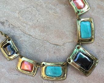 Vintage Artisan Studio Brass Panel Choker Necklace