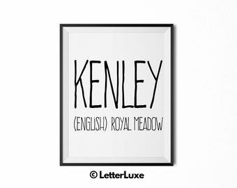 Kenley Name Meaning Art - Printable Baby Shower Gift - Nursery Printable Art - Digital Print - Nursery Decor - Typography Wall Decor