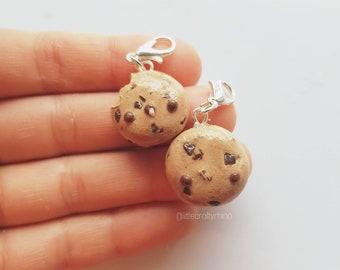 Handmade choc-chip cookie POLYMER CLAY charms