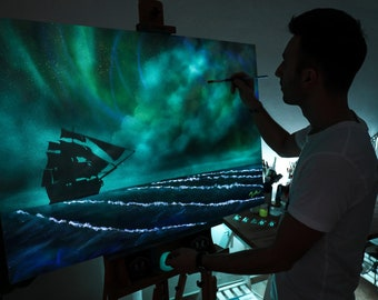 GhOST Sailer.. Glow in the dark on canvas 100 x 70 cm-Painting by Criso Art
