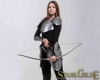 Larp Armor, female armor, Fantasy cosplay armor female armour womens armor Elven Angel of Silence: pauldrons, breast plate, skirt, bracers