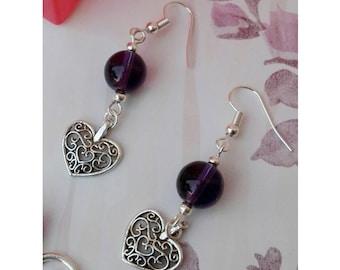 Small earrings, ultra violet earrings, heart earrings, beaded earrings, purple earrings, Mother's Day, mother Gift, gift for her