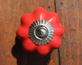 Red Ceramic Drawer Knobs - Cabinet Knobs Pumpkin (CK32)