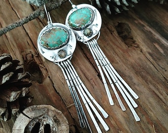 TURQUOISE EARRINGS • labradorite • Sterling Silver • Fringe Earrings • southwest earrings • boho • green stone • silver earrings • handmade