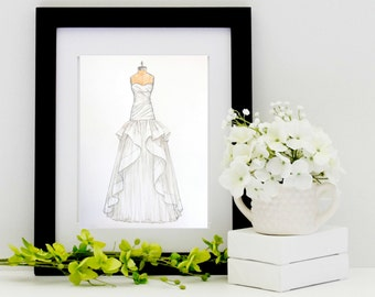 Custom Wedding Dress Sketch/Illustration (wedding,anniversary or bridal shower gift)