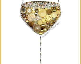 White Wine Decoration Kitchen Decor Button Art Print Rhinestone Wine Glass Swarovski Wine Button Art Wine Paintings