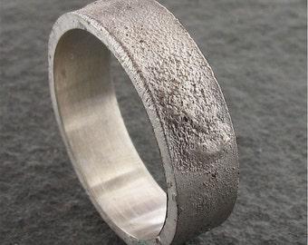 Mens silver wedding ring Lunar Rustic matt 6mm flat wedding band handmade design