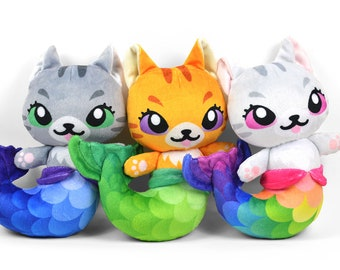 Mer-kitty Plush Printed Minky Faux Fur Stuffed Animal Toy Kitty Cat Mermaid