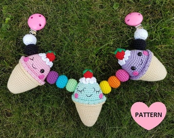 Ice Cream Stroller Mobile PATTERN PDF, crochet amigurumi