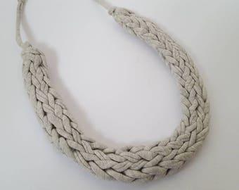 Handmade T-Shirt Yarn Necklace in Grey