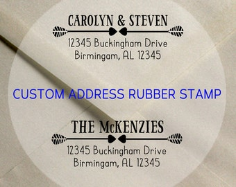 Custom Address Rubber Stamp / Arrows and Hearts Wedding Save the Date Address Stamp // Family Address Stamp