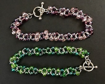 Green Czech Glass Beads Chainmail Bracelet