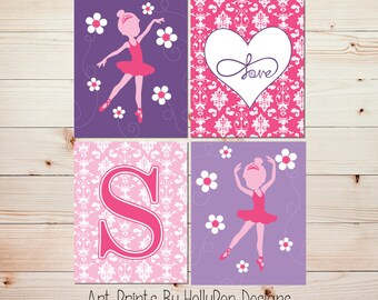 Ballerina Art Prints Girls Room Wall Decor Ballerina Nursery Art Pink Purple Wall Art Set of 4 Prints Toddler Girls Room #0988