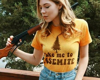 Take me to Yosemite- womens tshirt- vintage inspired-70s tshirt-monogram tshirt-camp shirt-graphic tee-unisex tshirt-yosemite t